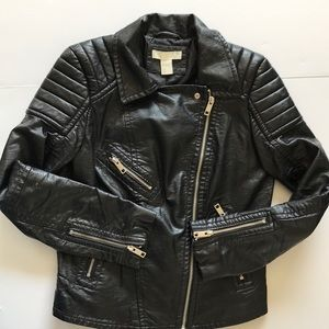 H&M Vegan Leather Faux Moto Jacket 8 Black Padded